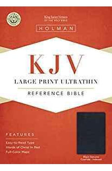 KJV Large Print UltraThin Reference Bible, Black Genuine Leather Indexed 9781433645044