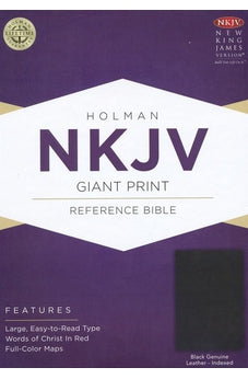 NKJV Giant Print Reference Bible, Black Genuine Leather Indexed 9781433645112