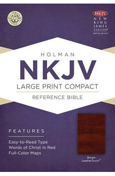NKJV Large Print Compact Reference Bible Brown Leathertouch 9781433647314