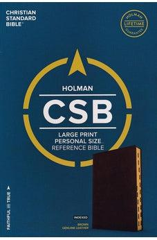 CSB Large Print Personal Size Reference Bible, Brown Genuine Leather, Indexed 9781433647789