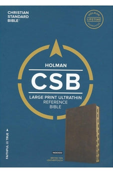 CSB Large Print Ultrathin Reference Bible, British Tan LeatherTouch, Black Letter Edition, Indexed 9781433648427