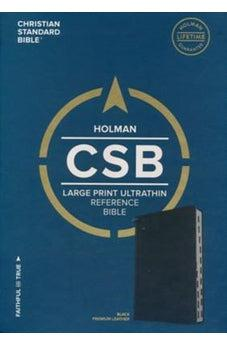 CSB Large Print Ultrathin Reference Bible, Black Premium Goatskin, Black Letter Edition 9781433648434