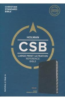 CSB Large Print Ultrathin Reference Bible, Black Premium Leather, Black Letter Edition, Indexed 9781433648441