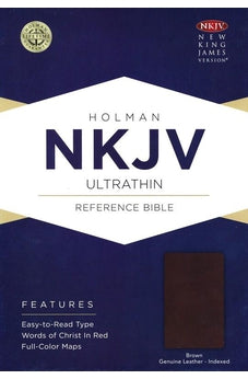 NKJV Ultrathin Reference Bible, Brown Genuine Leather, Indexed 9781462779895