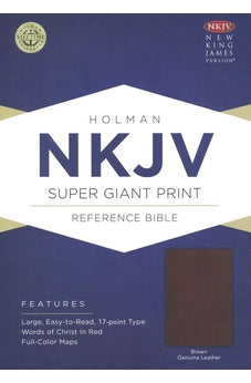 NKJV Super Giant Print Reference Bible, Brown Genuine Leather 9781462779956