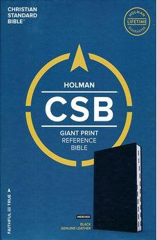 CSB Giant Print Reference Bible, Black Genuine Leather, Indexed 9781535905770