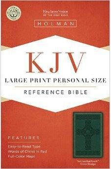 KJV Large Print Personal Size Reference Bible, Green Cross Design LeatherTouch 9781586404277