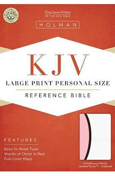 KJV Large Print Personal Size Reference Bible, White/Pink/Dark Brown LeatherTouch Indexed 9781586404338