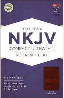 NKJV Compact Ultrathin Bible, Brown LeatherTouch 9781586406196