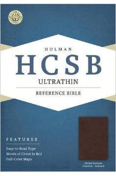 HCSB Ultrathin Reference Bible, Brown Genuine Cowhide Indexed 9781586407476