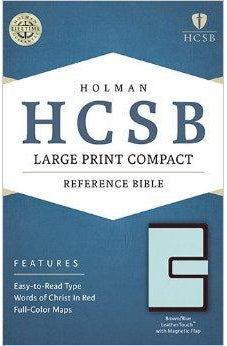 HCSB Large Print Compact Bible, Brown/Blue LeatherTouch with Magnetic Flap 9781586407582