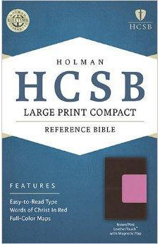 HCSB Large Print Compact Bible, Brown/Pink LeatherTouch with Magnetic Flap 9781586407599