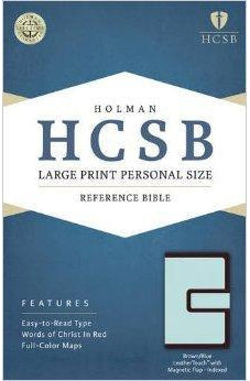 HCSB Large Print Personal Size Bible, Brown/Blue LeatherTouch with Magnetic Flap Indexed 9781586407841