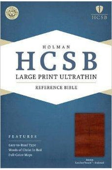 HCSB Large Print Ultrathin Reference Bible, Brown LeatherTouch Indexed 9781586407940