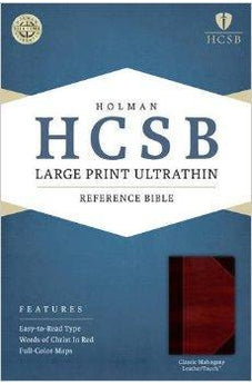 HCSB Large Print Ultrathin Reference Bible, Classic Mahogany LeatherTouch 9781586408077