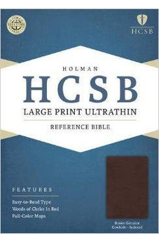 HCSB Large Print Ultrathin Reference Bible, Brown Genuine Cowhide Indexed 9781586408107