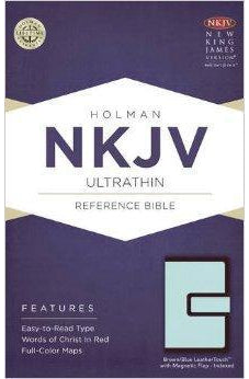 NKJV Ultrathin Reference Bible, Brown/Blue LeatherTouch with Magnetic Flap Indexed 9781586409159