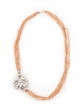 STERLING SILVER WHITE CRYSTAL PENDANT, BEIGE NECKLACE