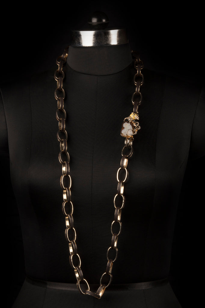 GOLD PLATED BIRD LEATHER NECKLACE - FASHION JEWELLERY