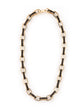 GOLD PLATED LEATHER LINK NECKLACE - FASHION JEWELLERY