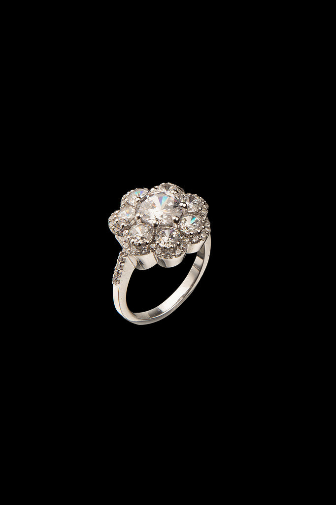 STERLING SILVER WHITE CRYSTAL FLOWER RING