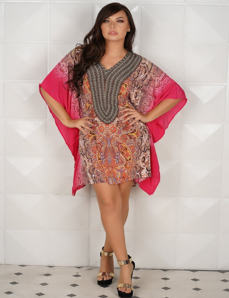 799020 Hot Pink Printed Kaftans