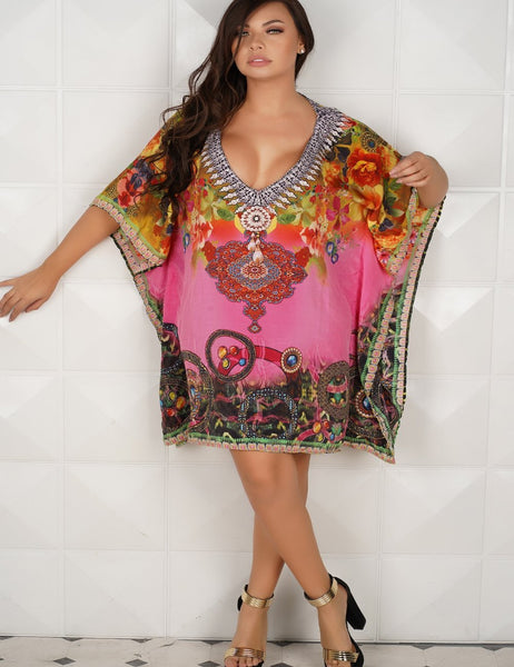 799025 Hot Pink Printed Kaftans