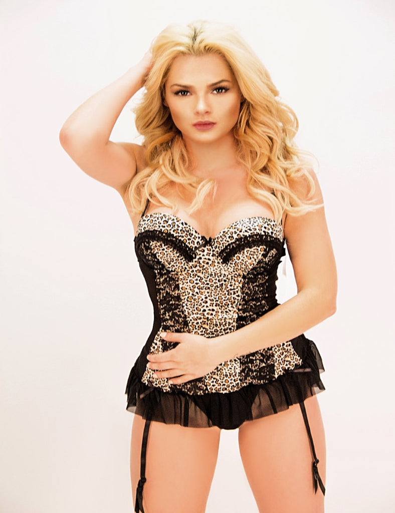 JL148 - Animal Print Babydolls w/ Black mesh