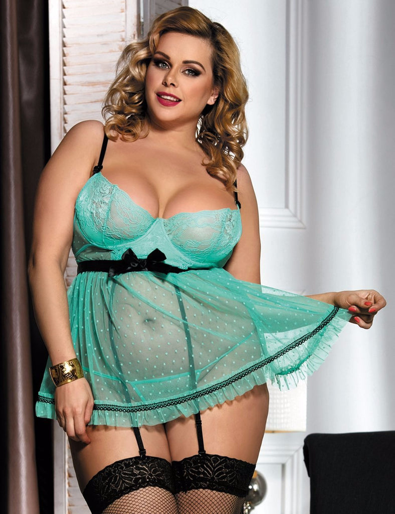 R90198P Plus size Stretch Lace Babydoll