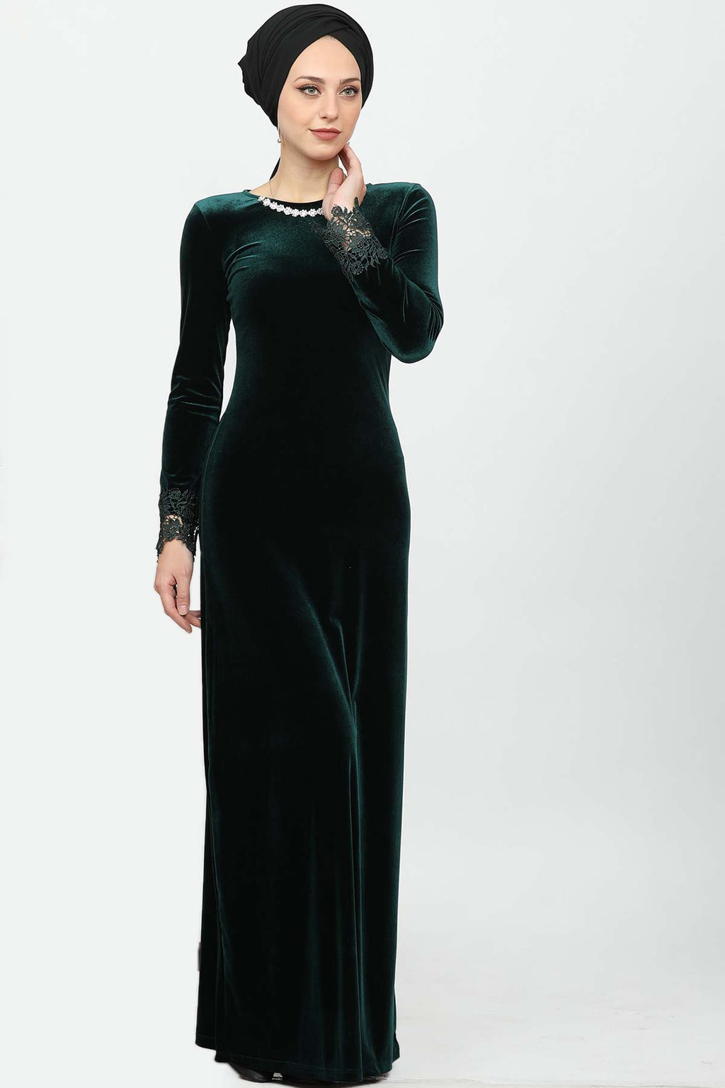 Dark Green Velvet Evening Gown