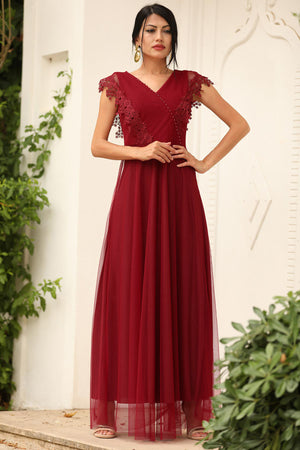 Women's Lace Red Evening Dress