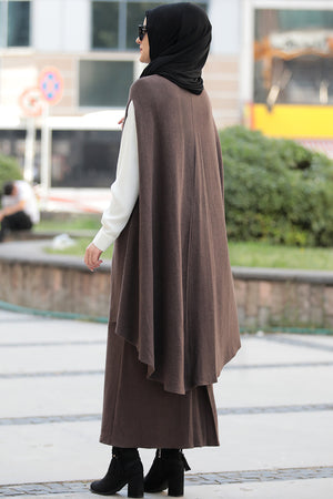 Women's Brown Tricot Poncho Skirt Set