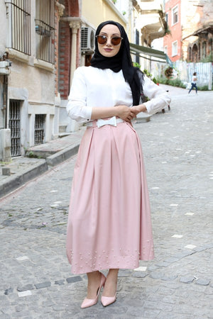 Women's Long Belted Pearl Pleated Powder Rose Skirt