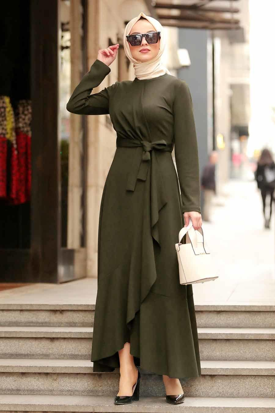 Belted Khaki Dress