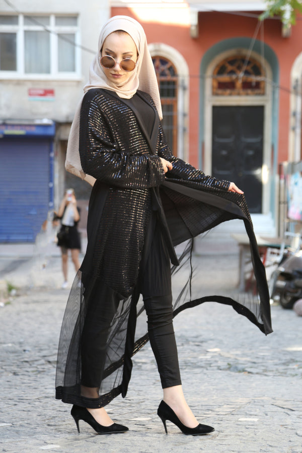 Women's Sequin Black Abaya