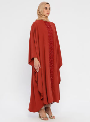 Women's Glitter Embroidered Tile Red Abaya