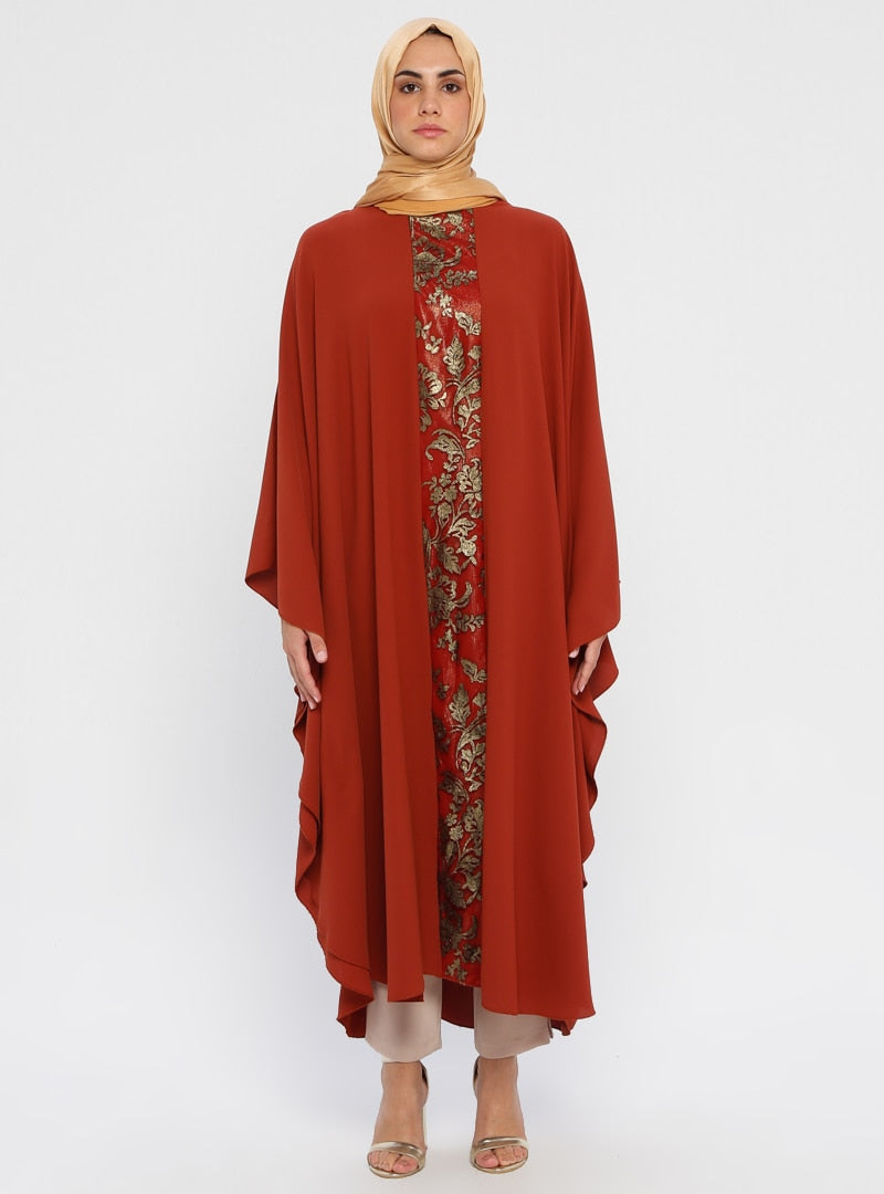 Glitter Embroidered Tile Red Abaya