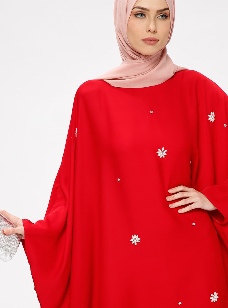 Women's Gemmed Red Abaya