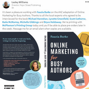 The Australian adaptation of Online Marketing for Busy Authors, by Fauzia Burke is now available!