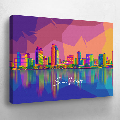 San Diego Skyline Pop Art, Texted