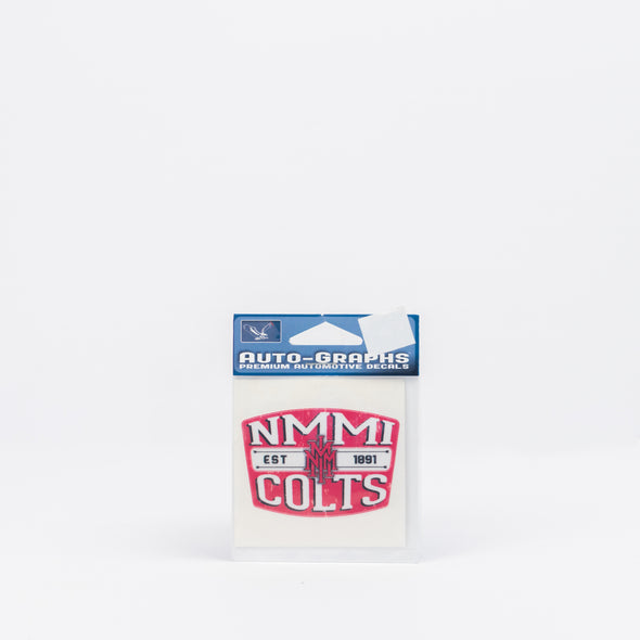 NMMI Colts Stacked Logo Red Buckle Shaped Decal