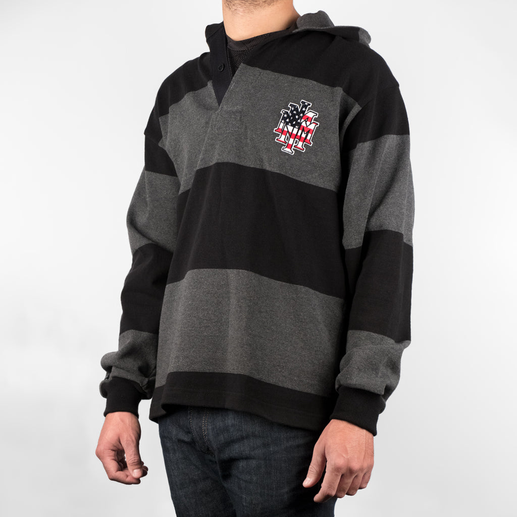 NMMI Gray & Black USA Style Rugby Jacket