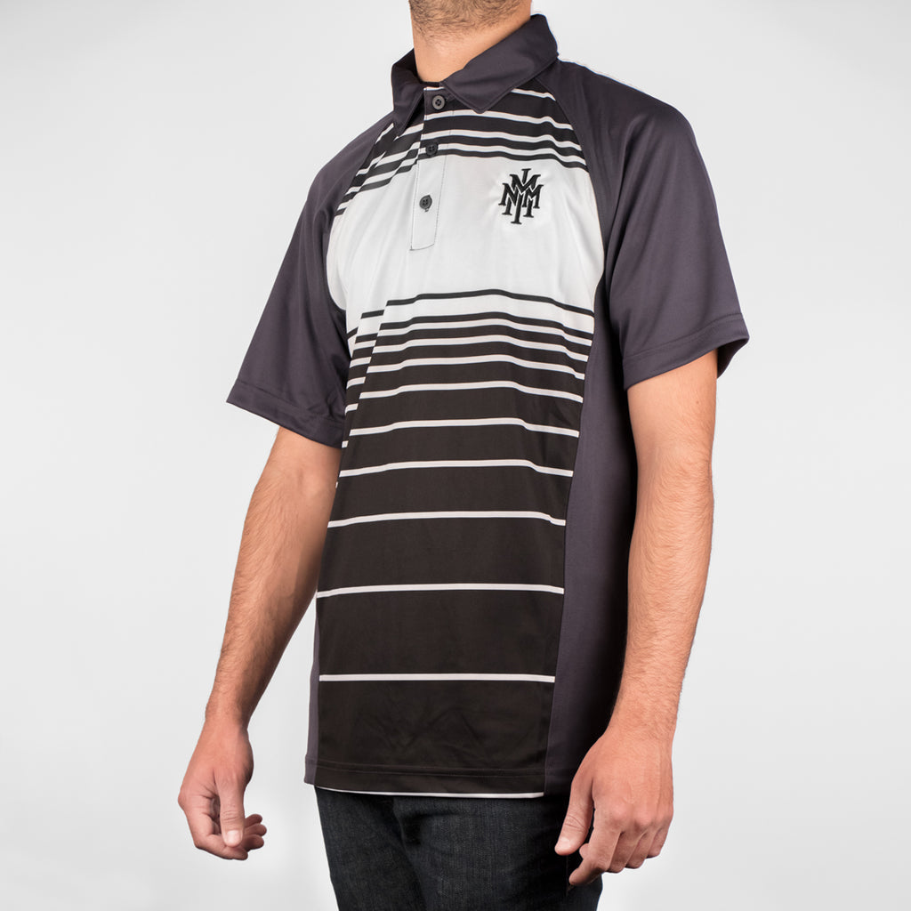 NMMI Black White & Gray Striped Polo