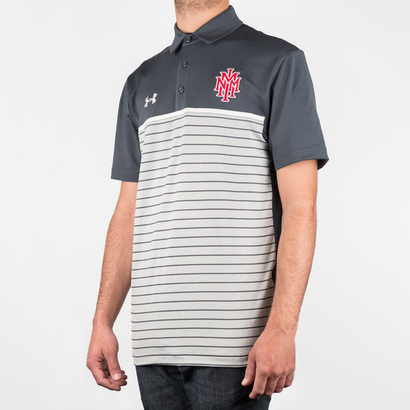 NMMI Under Armour Gray Striped Polo