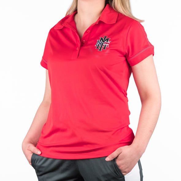 NMMI Womens Red USA Logo Polo
