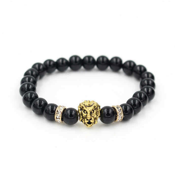 2017 New Design Antique Gold Color Buddha Leo Lion Head Bracelet Men 8mm Natural Black Onyx Stone Bead Bracelet Pulseras Hombre
