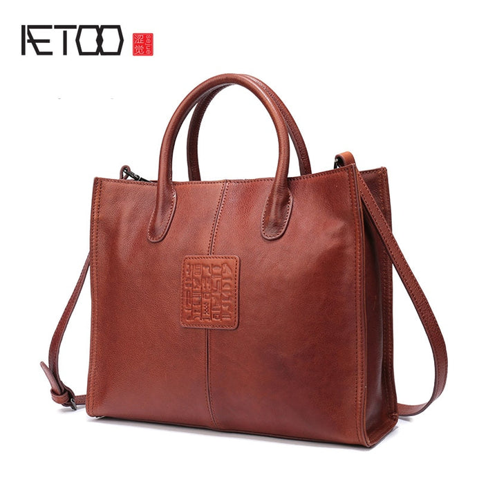 AETOO Female bag Europe and the United States fashion handbag new ladies shoulder bag large-capacity leather female Tote bag