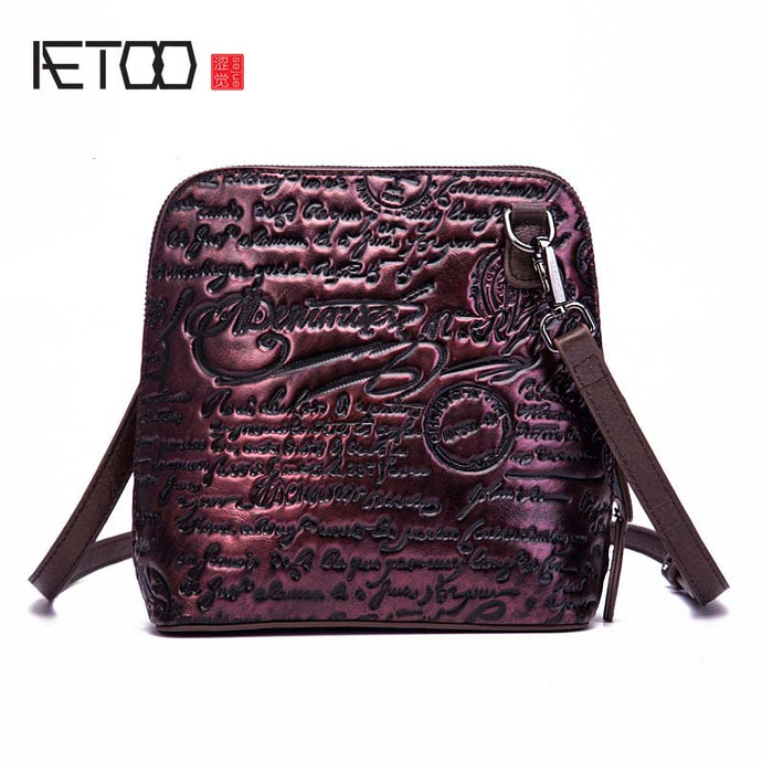 AETOO Leather female  female 2018 new retro trend letters embossed shoulder diagonal fashion brush package shell bag women flap