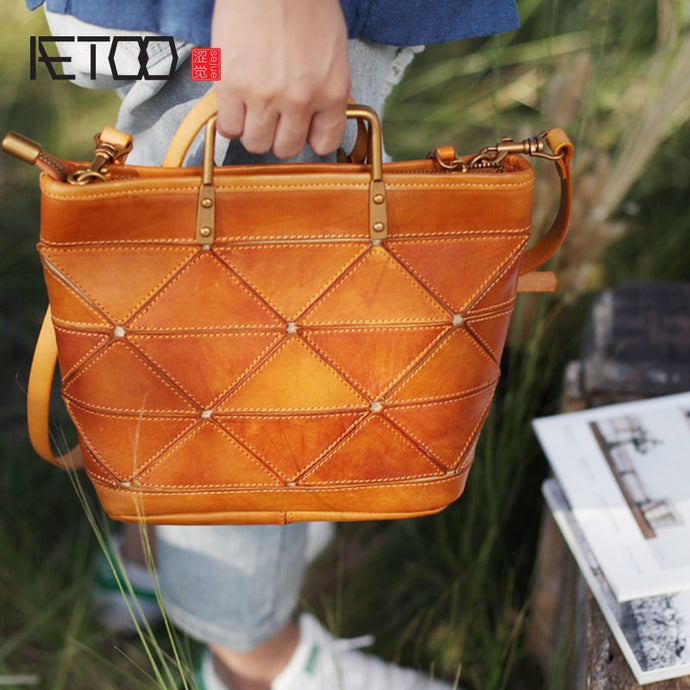 AETOO Geometric Stitching Casual Women's HandBag