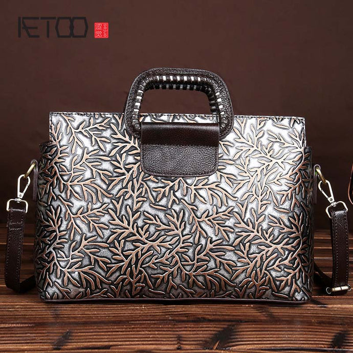 AETOO Retro Wiping Embossed Leather Handbag